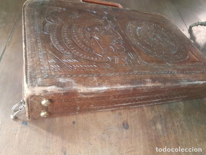 Vintage: Cartera documentos portafolios piel motivos aztecas - Foto 5 - 174138382