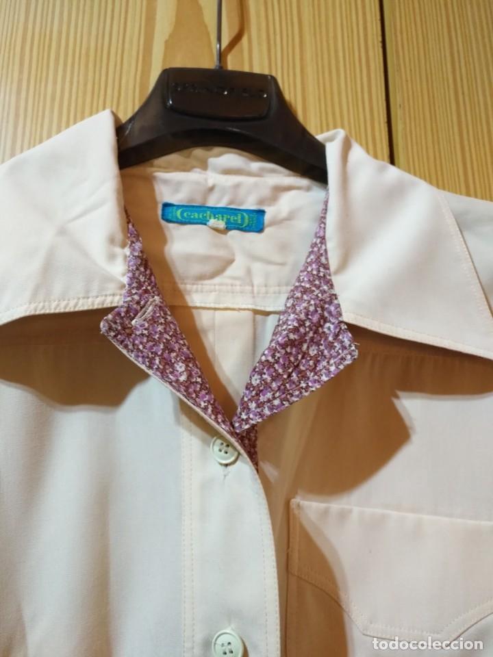 Vintage: RB 40 Vestido mujer CACHAREL manga corta beige o rosado y detalles estampados Talla 40 - Foto 2 - 174440180