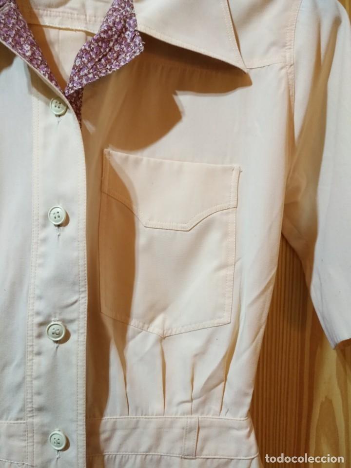 Vintage: RB 40 Vestido mujer CACHAREL manga corta beige o rosado y detalles estampados Talla 40 - Foto 3 - 174440180