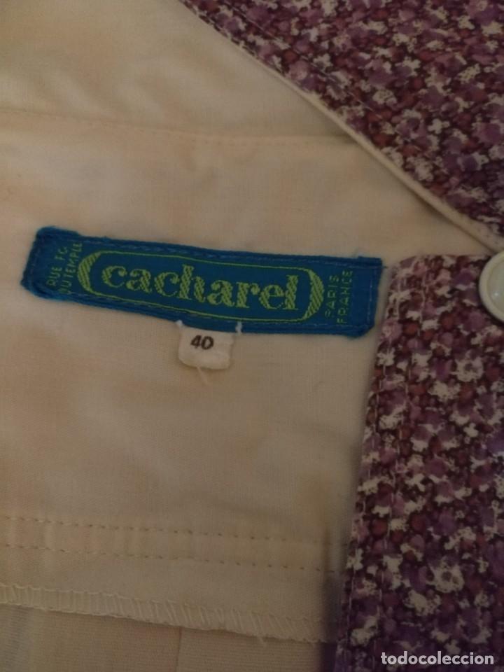 Vintage: RB 40 Vestido mujer CACHAREL manga corta beige o rosado y detalles estampados Talla 40 - Foto 9 - 174440180