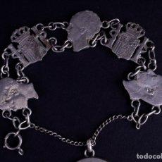 Vintage: PULSERA CON ESCUDO DE LA CORONA Y PERFILES REALES EN PLATA. Lote 176167407