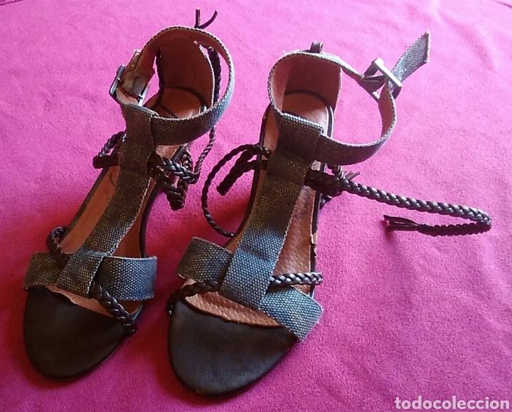 Vintage: Zapatos sandalias tacon mustang talla 36 vaquero y cuero altura tacon 6 cm - Foto 3 - 176490633