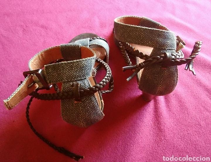 Vintage: Zapatos sandalias tacon mustang talla 36 vaquero y cuero altura tacon 6 cm - Foto 4 - 176490633