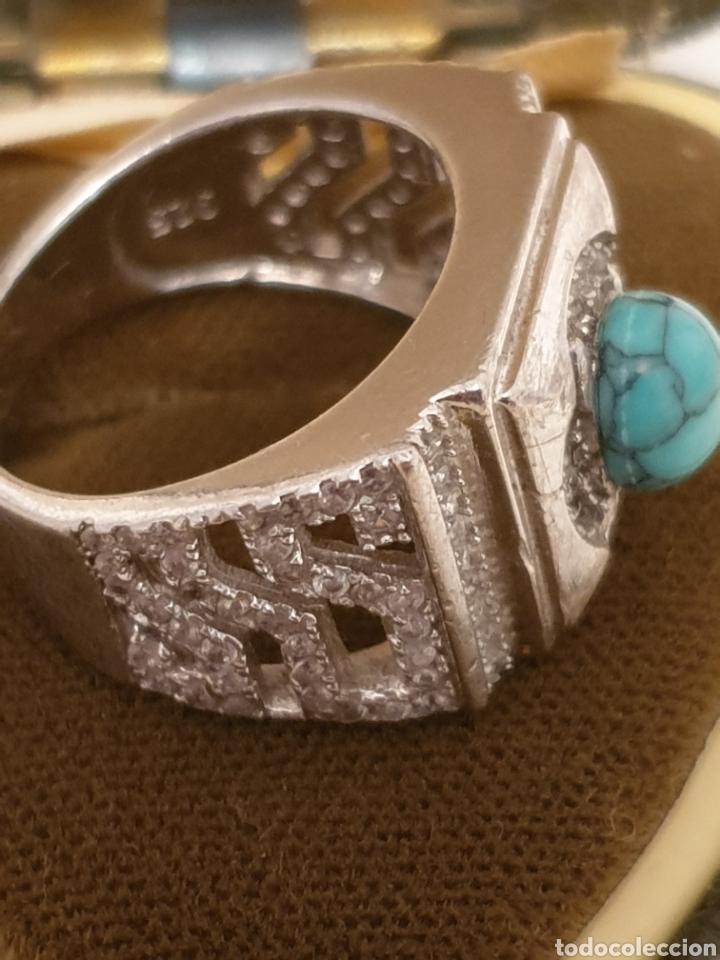 Vintage: Fabuloso anillo de diseño plata de ley 925 con turquesa y circonias - Foto 2 - 179193217