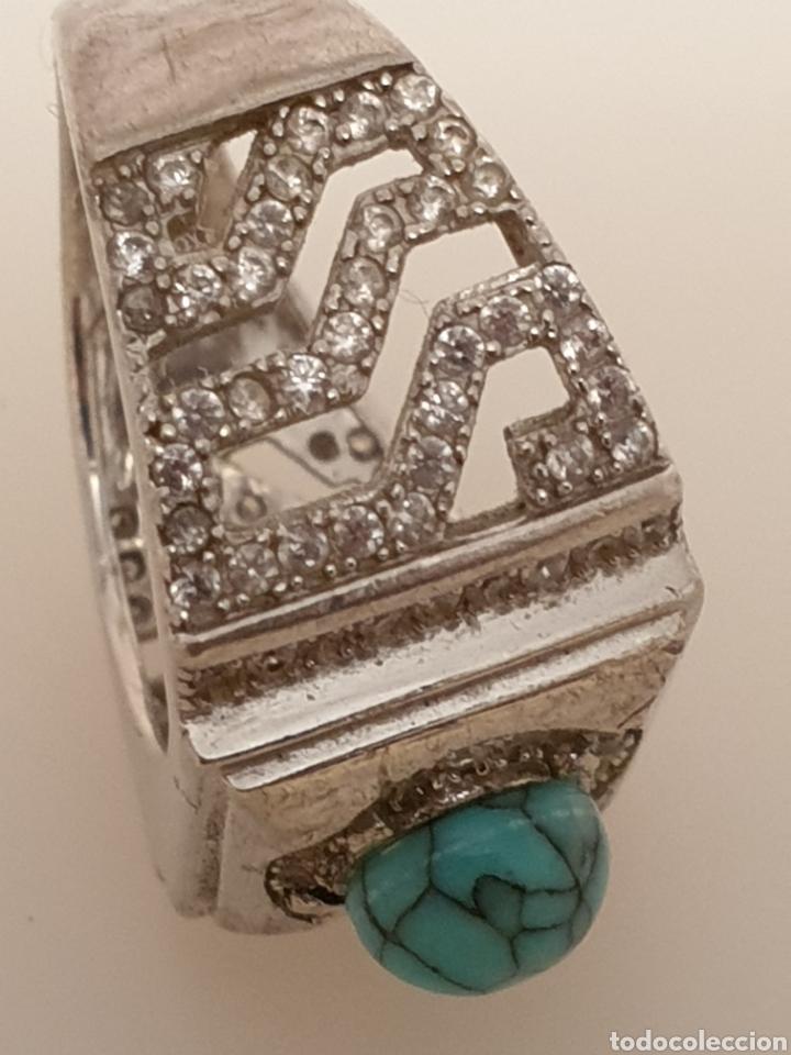 Vintage: Fabuloso anillo de diseño plata de ley 925 con turquesa y circonias - Foto 3 - 179193217