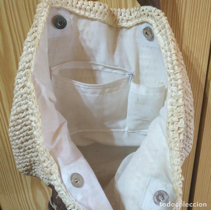 Vintage: Bolso mano de rafia o similar beige y marrón - Con asas 50cm x 40cm - Foto 2 - 183429046