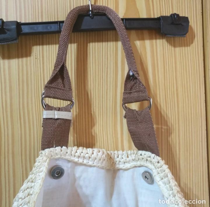 Vintage: Bolso mano de rafia o similar beige y marrón - Con asas 50cm x 40cm - Foto 3 - 183429046