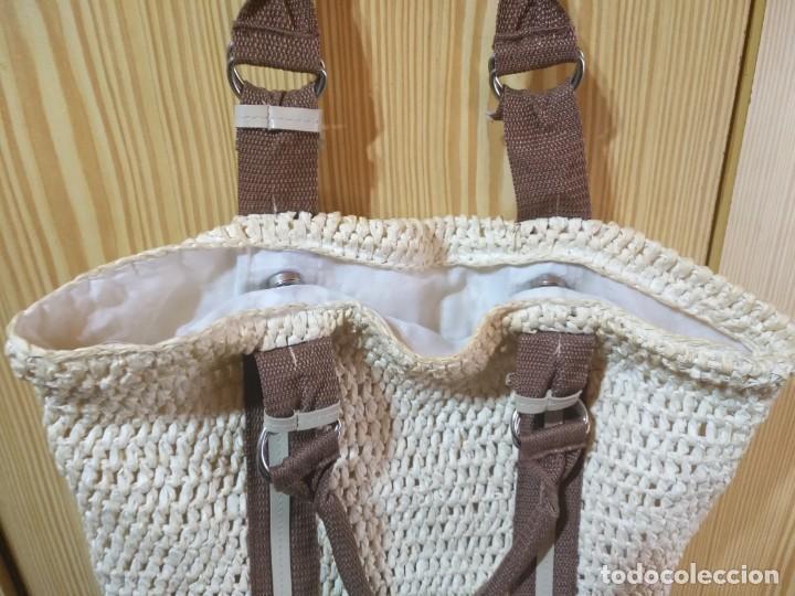 Vintage: Bolso mano de rafia o similar beige y marrón - Con asas 50cm x 40cm - Foto 4 - 183429046