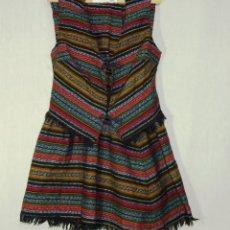 Vintage: PRECIOSO VESTIDO Y CHALECO CON TELA TIPO ALPUJARREÑO.2 PIEZAS.. Lote 183497848