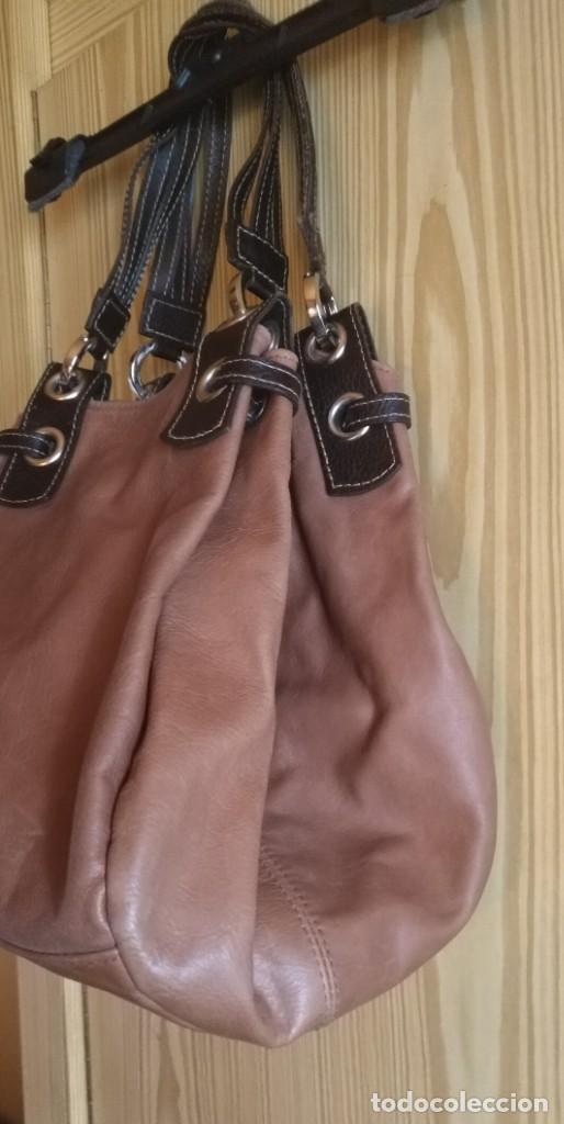 Vintage: Bolso mano NATHALIA - Original diseño piel dos marrones - cierre cremallera - Ver fotografías - Foto 2 - 183797115