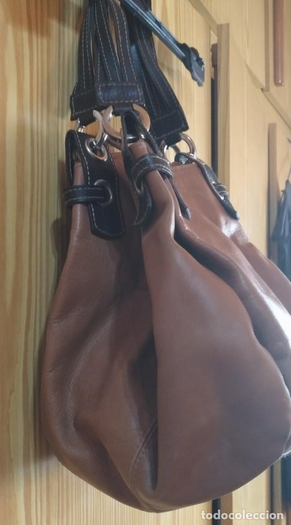 Vintage: Bolso mano NATHALIA - Original diseño piel dos marrones - cierre cremallera - Ver fotografías - Foto 3 - 183797115