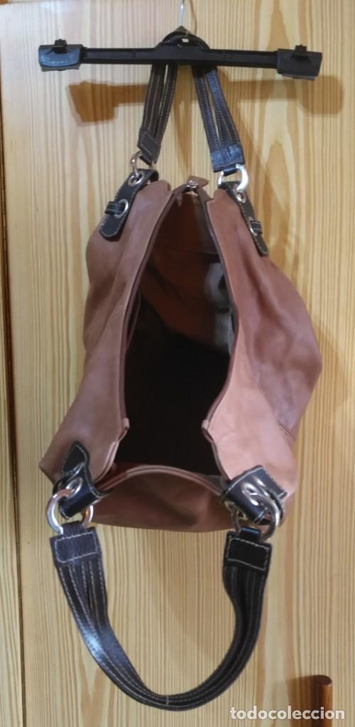 Vintage: Bolso mano NATHALIA - Original diseño piel dos marrones - cierre cremallera - Ver fotografías - Foto 4 - 183797115