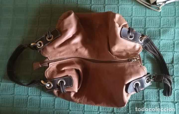 Vintage: Bolso mano NATHALIA - Original diseño piel dos marrones - cierre cremallera - Ver fotografías - Foto 6 - 183797115