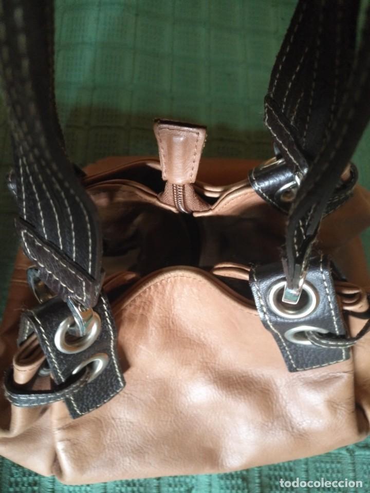 Vintage: Bolso mano NATHALIA - Original diseño piel dos marrones - cierre cremallera - Ver fotografías - Foto 7 - 183797115