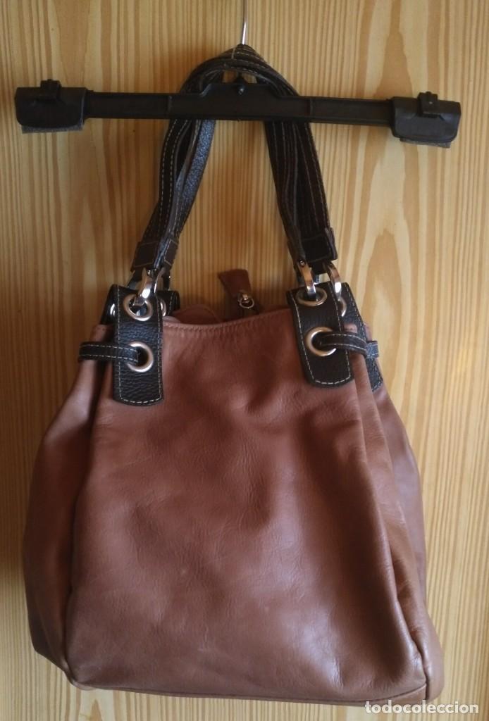 Vintage: Bolso mano NATHALIA - Original diseño piel dos marrones - cierre cremallera - Ver fotografías - Foto 8 - 183797115