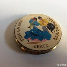 Vintage: POLVERA RELLENABLE JAMÁS USADA DE PROMOCIÓN FINO LA INA, PEDRO DOMECQ, JEREZ 6CM DIÁMETRO. Lote 262879655