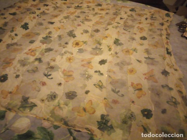 Vintage: Precioso pañuelo con motivo mariposas y transparencias.viscosa - Foto 3 - 186492855