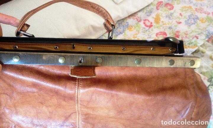 Vintage: Maleta-bolsa de viaje estilo inglés- RETRO- piel auténtica- - Foto 2 - 191019423