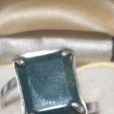 Vintage: EXCELENTE ANILLO DE JADE Y PLATA DE LEY 925 ANTIGUO. Lote 191780146