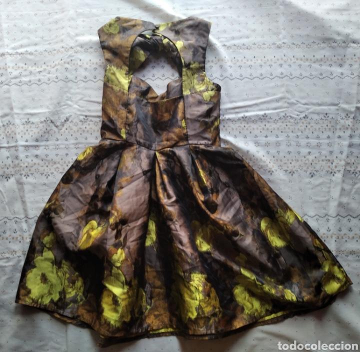 Vintage: Vestido Asos fiesta boda coctel marrón amarillo dorado flores talla 36 - Foto 8 - 191846946