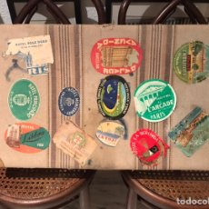 Vintage: MALETA VIAJADA, CON ETIQUETAS DE HOTELES DE CIUDADES ESPAÑOLAS.. (H.1930?). Lote 193072005
