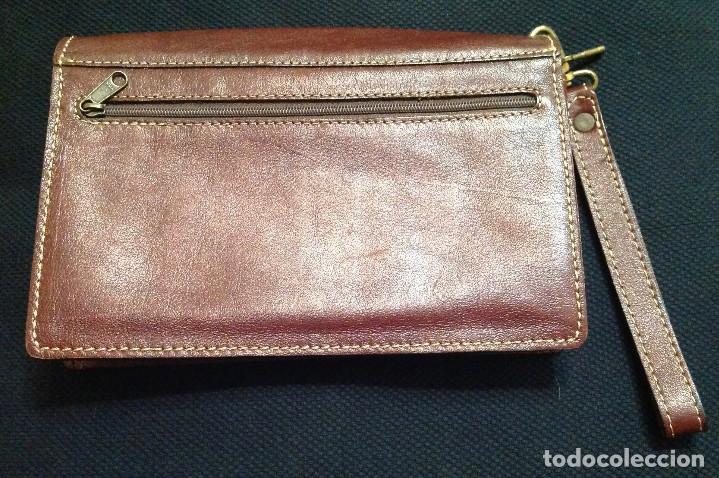 Vintage: Cartera de piel, Pielsuave , portadocumentos, con asa-correa de piel, varios departamentos. Nuevo - Foto 3 - 193809040