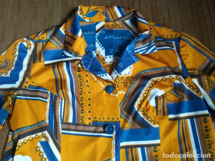 Vintage: Vestido de tablas estampado retro vintage Color azul y naranja Hecho a mano Defectuoso Talla grande - Foto 2 - 194206266