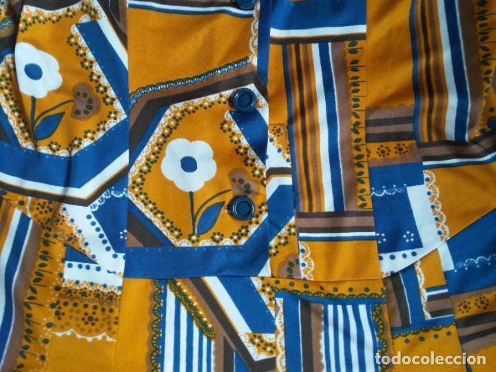 Vintage: Vestido de tablas estampado retro vintage Color azul y naranja Hecho a mano Defectuoso Talla grande - Foto 3 - 194206266