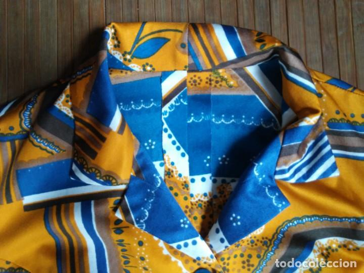 Vintage: Vestido de tablas estampado retro vintage Color azul y naranja Hecho a mano Defectuoso Talla grande - Foto 5 - 194206266