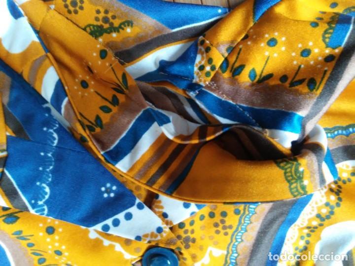 Vintage: Vestido de tablas estampado retro vintage Color azul y naranja Hecho a mano Defectuoso Talla grande - Foto 6 - 194206266