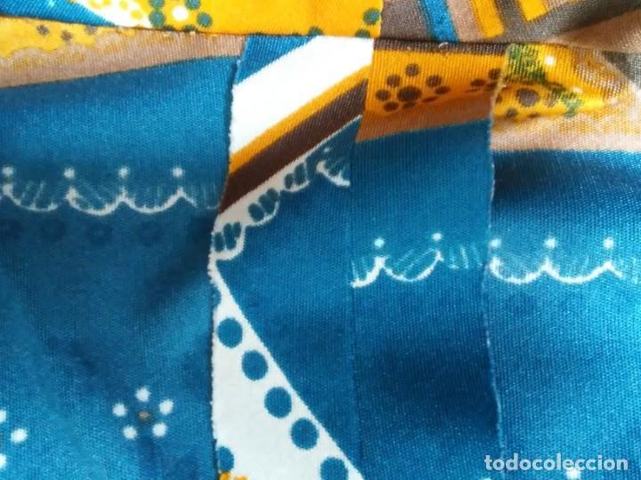 Vintage: Vestido de tablas estampado retro vintage Color azul y naranja Hecho a mano Defectuoso Talla grande - Foto 7 - 194206266