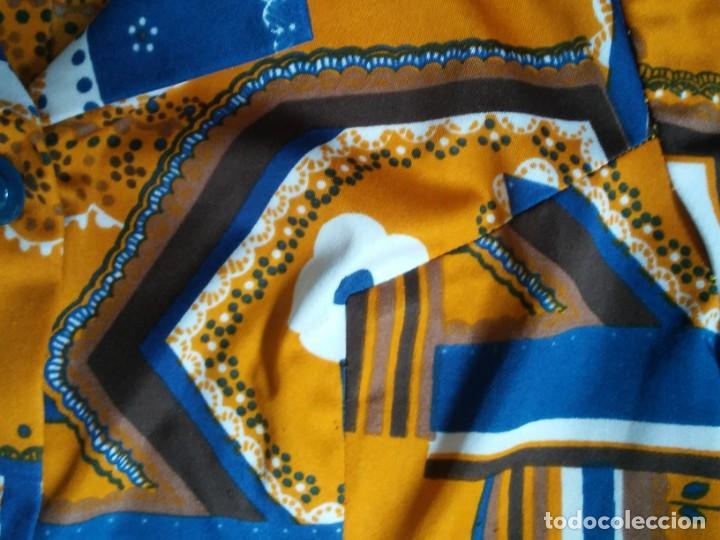 Vintage: Vestido de tablas estampado retro vintage Color azul y naranja Hecho a mano Defectuoso Talla grande - Foto 8 - 194206266