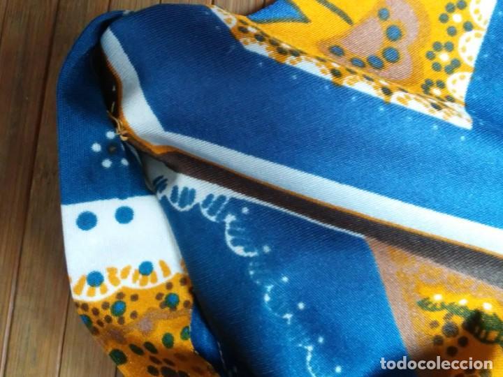 Vintage: Vestido de tablas estampado retro vintage Color azul y naranja Hecho a mano Defectuoso Talla grande - Foto 10 - 194206266