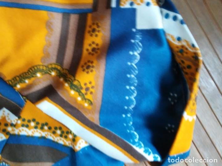 Vintage: Vestido de tablas estampado retro vintage Color azul y naranja Hecho a mano Defectuoso Talla grande - Foto 11 - 194206266