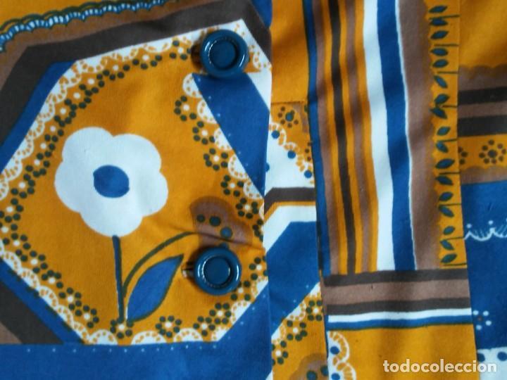Vintage: Vestido de tablas estampado retro vintage Color azul y naranja Hecho a mano Defectuoso Talla grande - Foto 12 - 194206266