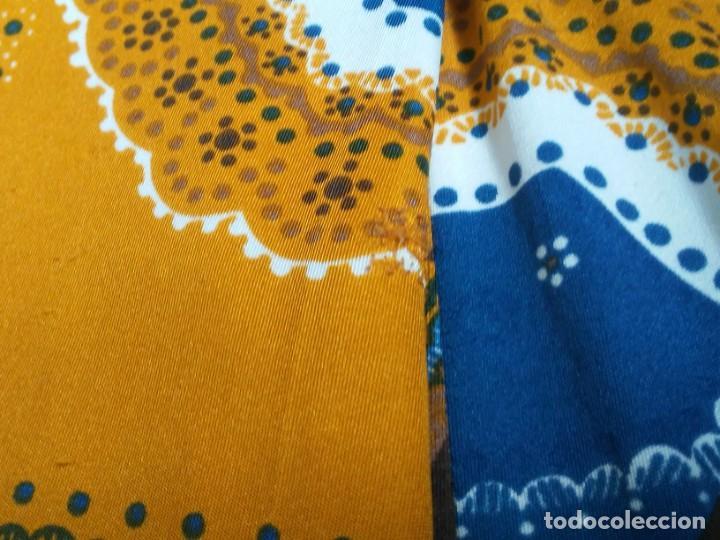 Vintage: Vestido de tablas estampado retro vintage Color azul y naranja Hecho a mano Defectuoso Talla grande - Foto 15 - 194206266