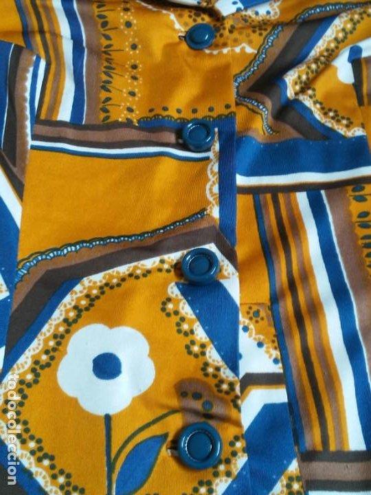 Vintage: Vestido de tablas estampado retro vintage Color azul y naranja Hecho a mano Defectuoso Talla grande - Foto 18 - 194206266