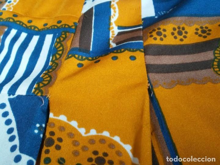 Vintage: Vestido de tablas estampado retro vintage Color azul y naranja Hecho a mano Defectuoso Talla grande - Foto 19 - 194206266