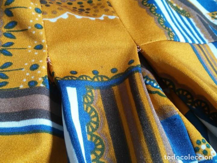 Vintage: Vestido de tablas estampado retro vintage Color azul y naranja Hecho a mano Defectuoso Talla grande - Foto 20 - 194206266