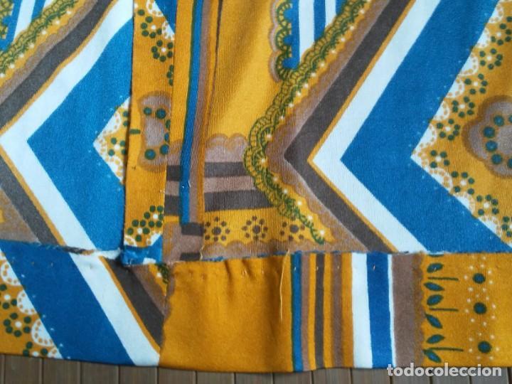 Vintage: Vestido de tablas estampado retro vintage Color azul y naranja Hecho a mano Defectuoso Talla grande - Foto 21 - 194206266