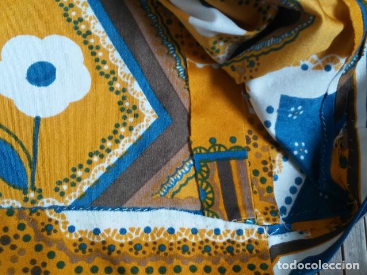 Vintage: Vestido de tablas estampado retro vintage Color azul y naranja Hecho a mano Defectuoso Talla grande - Foto 22 - 194206266