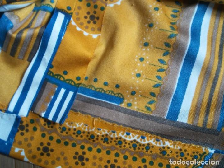 Vintage: Vestido de tablas estampado retro vintage Color azul y naranja Hecho a mano Defectuoso Talla grande - Foto 23 - 194206266