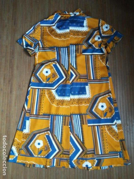 Vintage: Vestido de tablas estampado retro vintage Color azul y naranja Hecho a mano Defectuoso Talla grande - Foto 25 - 194206266