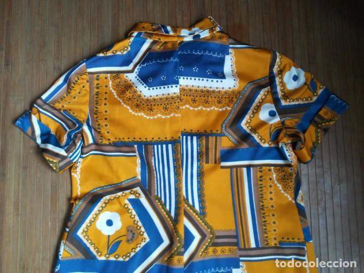 Vintage: Vestido de tablas estampado retro vintage Color azul y naranja Hecho a mano Defectuoso Talla grande - Foto 26 - 194206266
