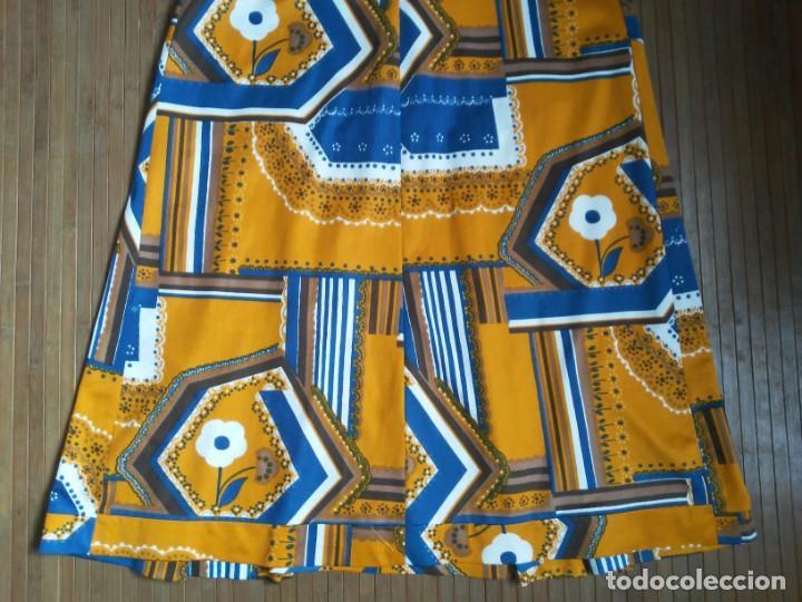 Vintage: Vestido de tablas estampado retro vintage Color azul y naranja Hecho a mano Defectuoso Talla grande - Foto 27 - 194206266