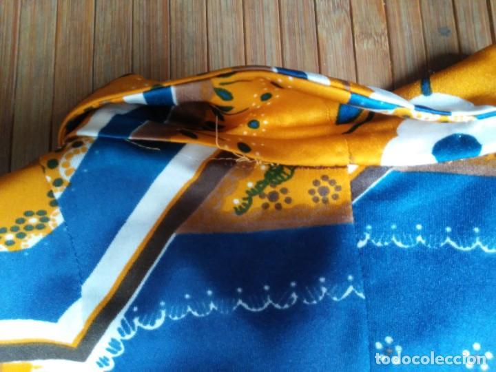 Vintage: Vestido de tablas estampado retro vintage Color azul y naranja Hecho a mano Defectuoso Talla grande - Foto 28 - 194206266