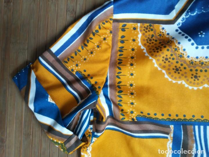 Vintage: Vestido de tablas estampado retro vintage Color azul y naranja Hecho a mano Defectuoso Talla grande - Foto 29 - 194206266
