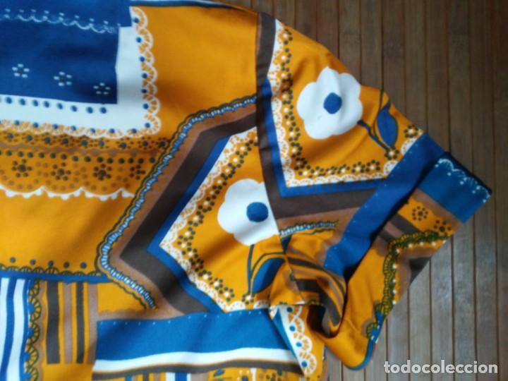 Vintage: Vestido de tablas estampado retro vintage Color azul y naranja Hecho a mano Defectuoso Talla grande - Foto 30 - 194206266