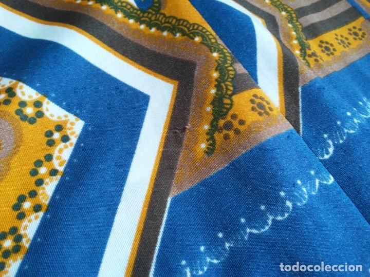 Vintage: Vestido de tablas estampado retro vintage Color azul y naranja Hecho a mano Defectuoso Talla grande - Foto 31 - 194206266