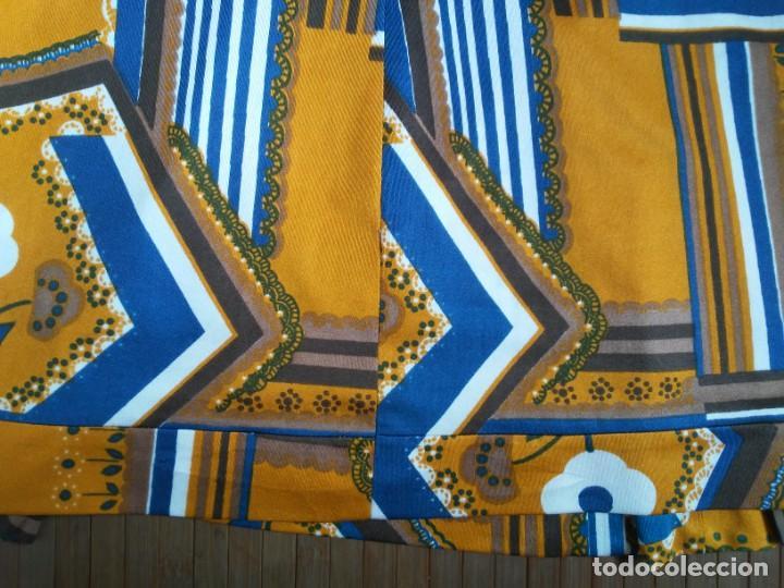 Vintage: Vestido de tablas estampado retro vintage Color azul y naranja Hecho a mano Defectuoso Talla grande - Foto 32 - 194206266